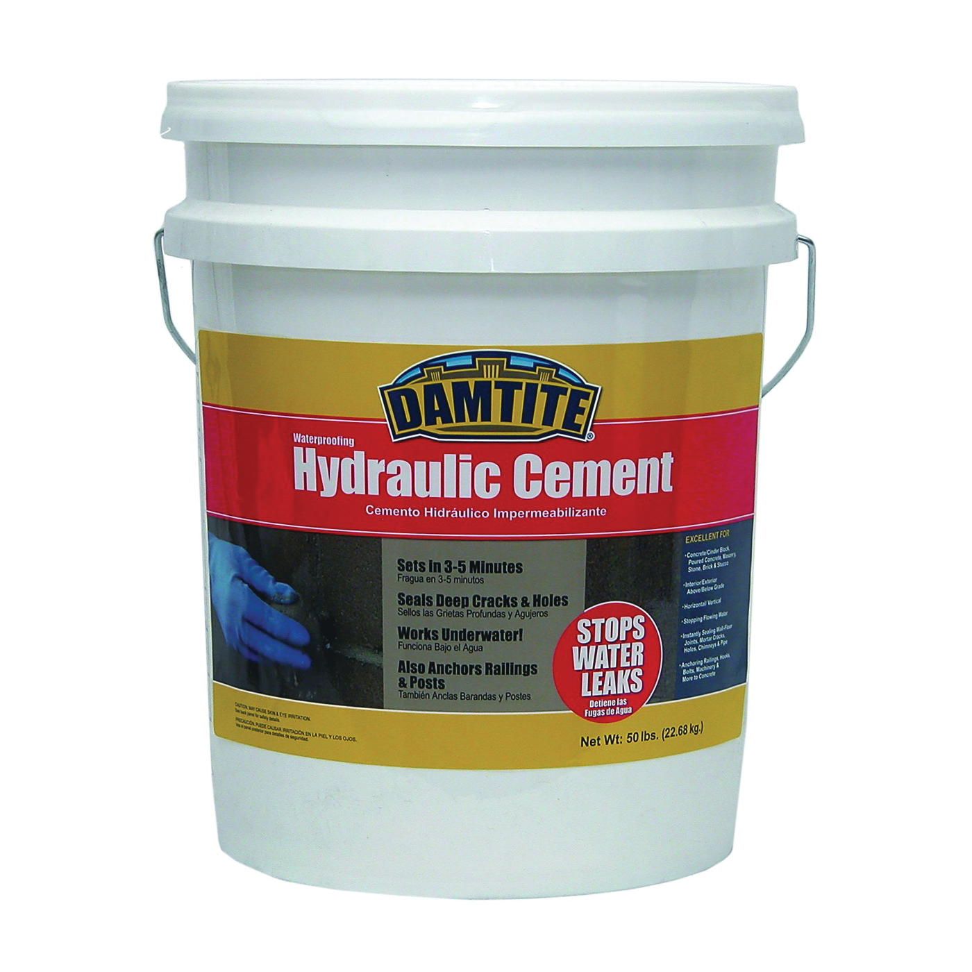 Picture of DAMTITE 07502 Hydraulic Cement, Gray, Powder, 50 lb Package, Pail