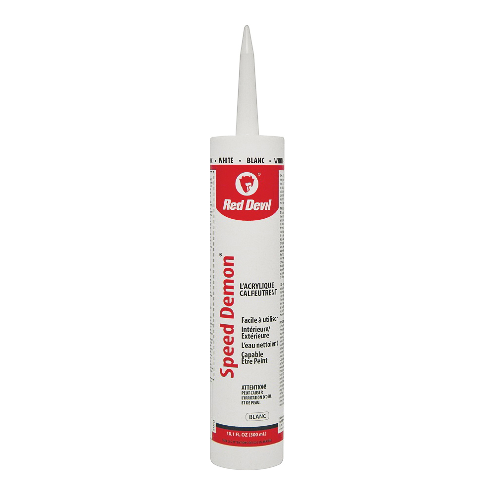 Picture of Red Devil SPEED DEMON 00131CA Acrylic Latex Caulk, White, 10.1 oz Package, Cartridge