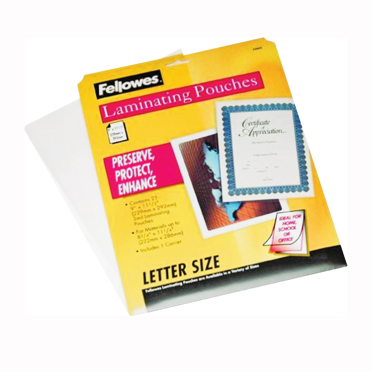 Picture of Centurion Fellowes 52005 Laminating Pouch, 11 in L, 8-1/2 in W, 3 mil Thick, Clear, 25, Pack