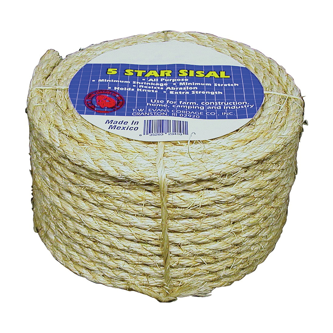 Picture of T.W. Evans Cordage 23-205 Rope, 1/4 in Dia, 50 ft L, 900 lb Working Load, Sisal, Cello Wrapped