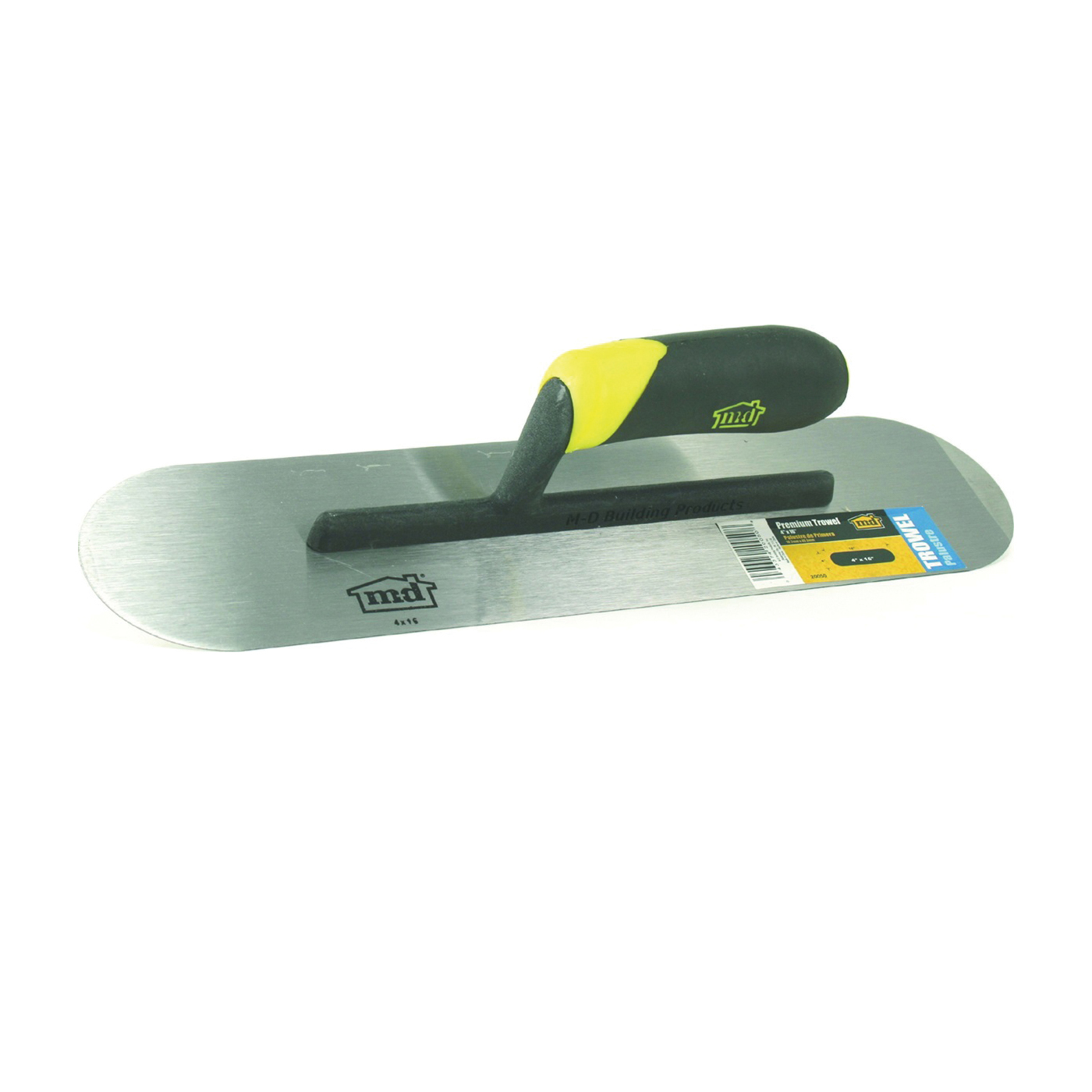 Picture of M-D 20050 Flat Pool Finishing Trowel, Hardened Steel Blade, Comfort Grip Handle, Thermoplastic Handle, 4 in OAW