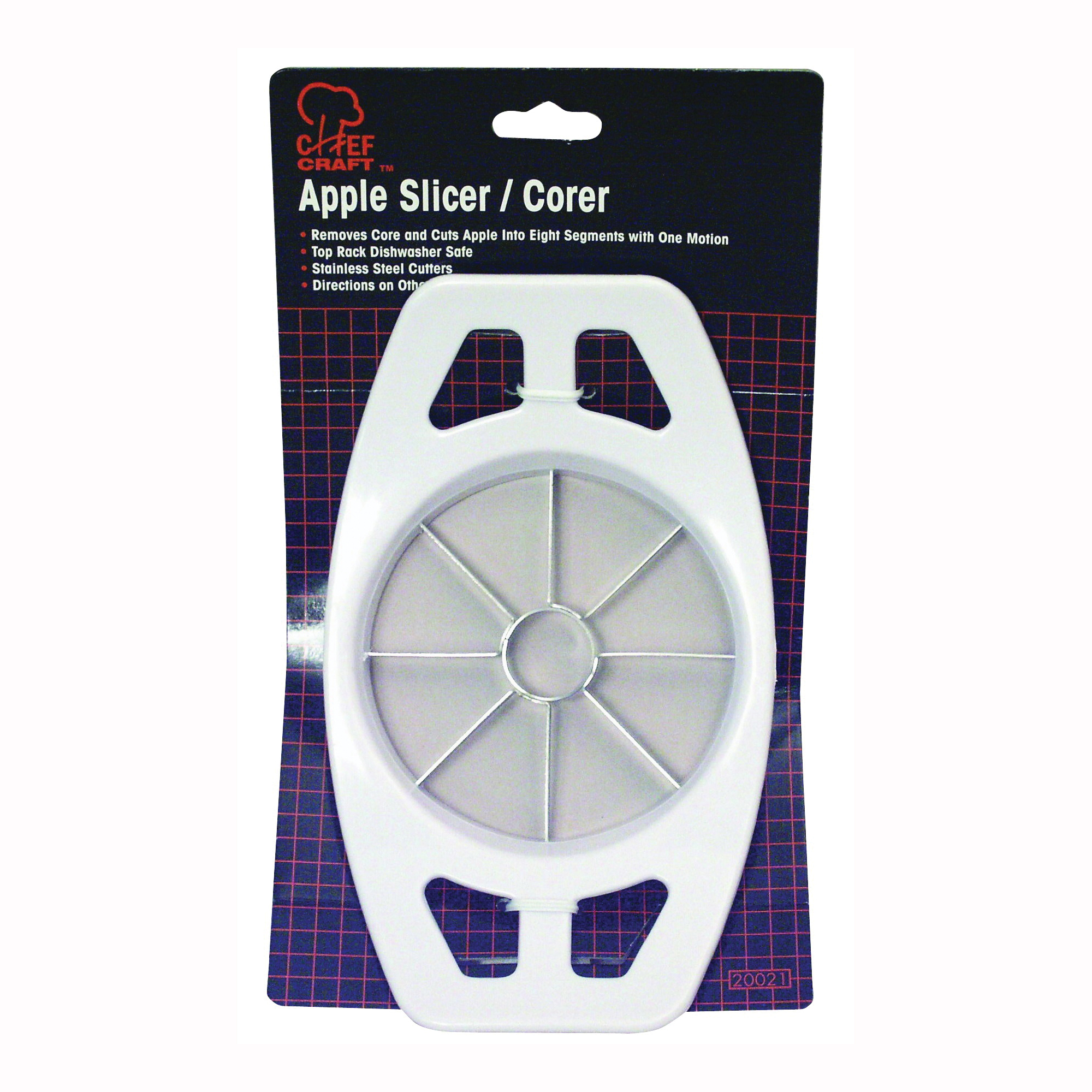 Picture of CHEF CRAFT 20021 Apple Slicer, Stainless Steel Blade, Plastic Handle, White, Dishwasher Safe: Yes