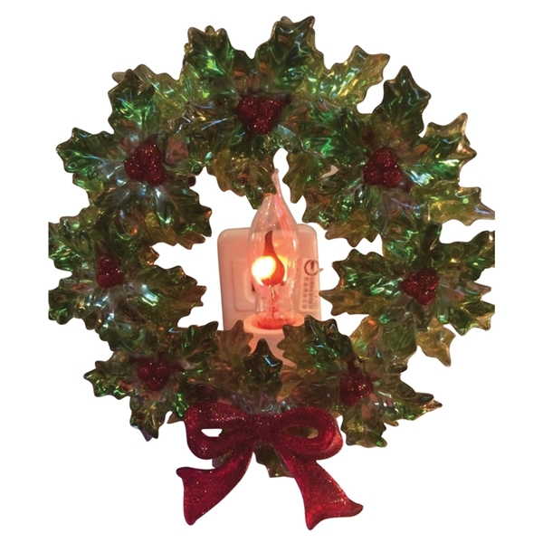 Picture of Santas Forest 19349 Wreath Night Light, 4 in H, Christmas Specialty Decorations, Plastic 80%,Copper 15%,Glass 5%