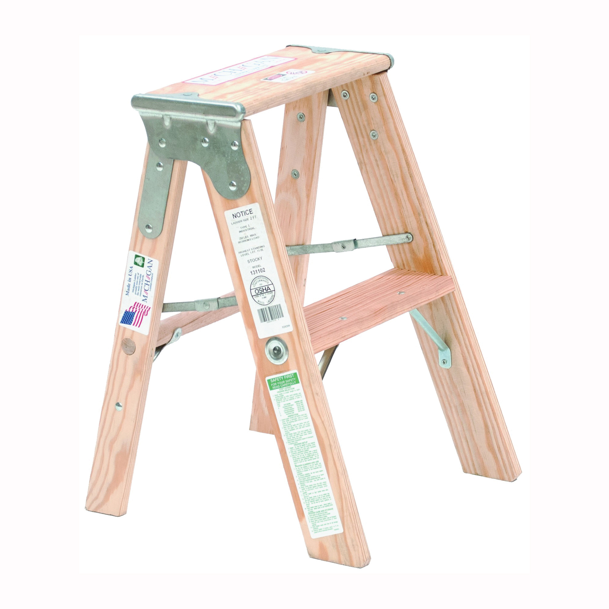 Picture of MICHIGAN LADDER 131102 Step Ladder, Type I Duty Rating, Pine, Silk