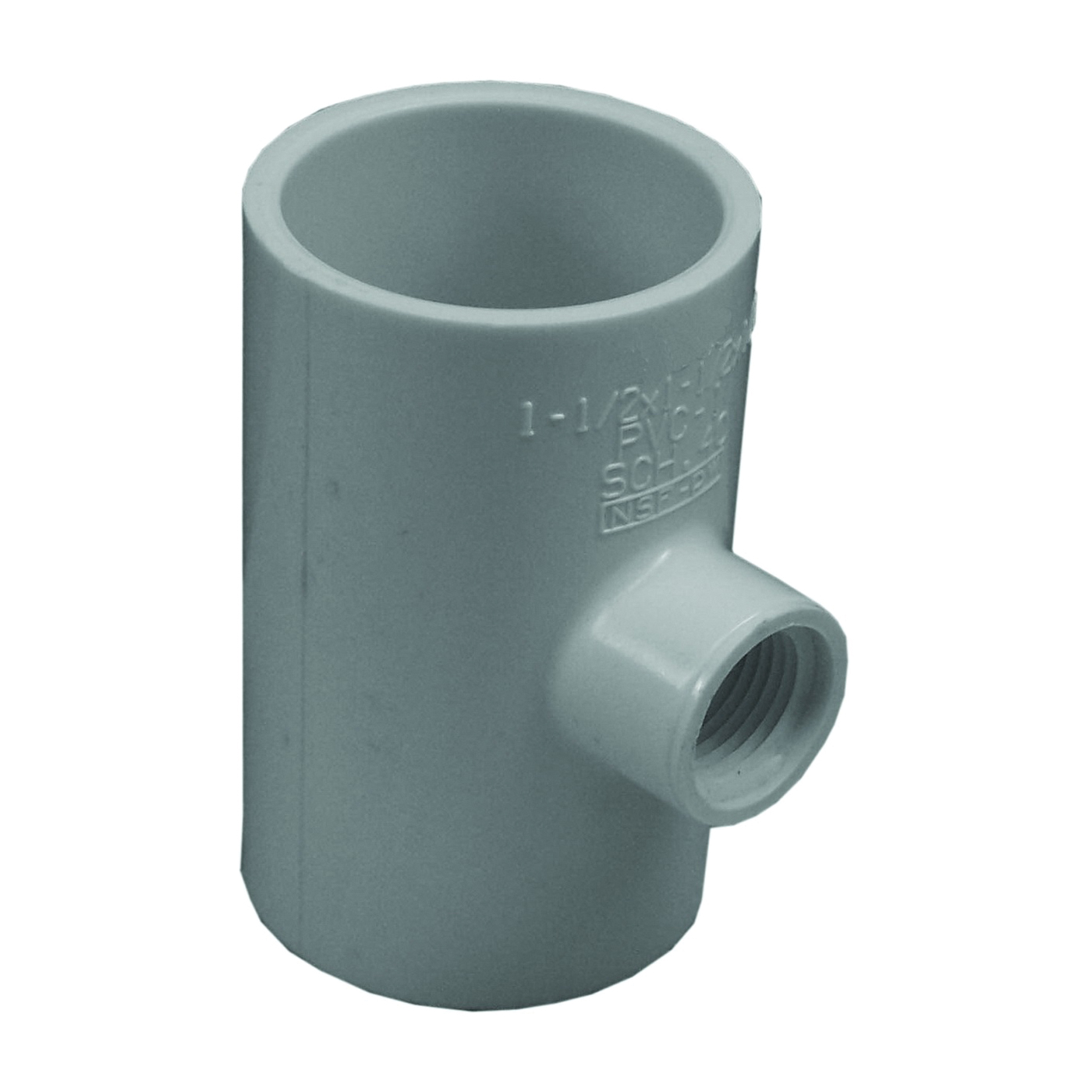 Picture of GENOVA 300 Series 31478 Pipe Reducing Tee, 1-1/2 in Run, Slip Run Connection, 1/2 in Branch, White