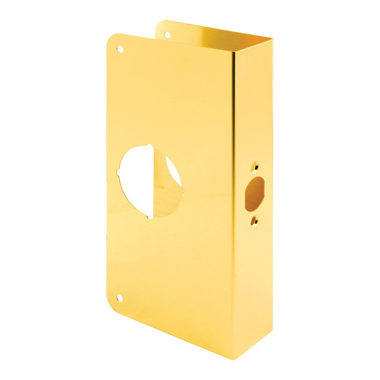 Picture of Prime-Line U 9549 Lock and Door Reinforcer, 2-3/4 in Backset, 1-3/8 in Thick Door, Brass, Brass, 9 in H