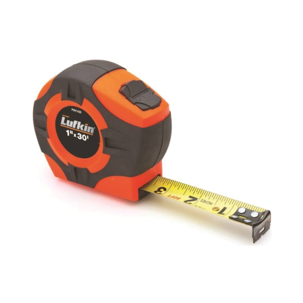 Picture of Crescent Lufkin PHV1430N/PHV1430 Tape Measure, 30 ft L Blade, 1 in W Blade, ABS Case, Orange Case