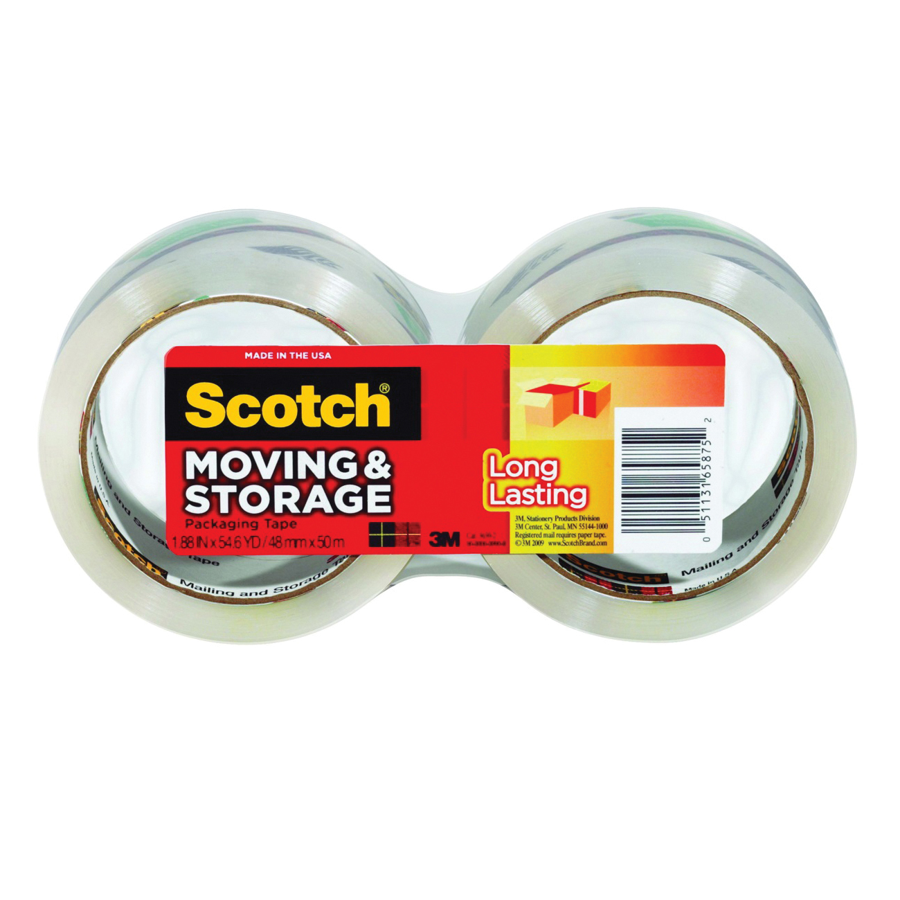 Picture of Scotch 3650-2 Packaging Tape, 54.6 yd L, 1.88 in W, Polypropylene Backing, Clear