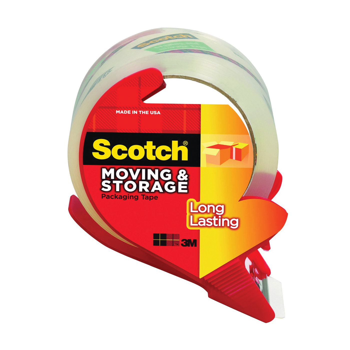 Picture of Scotch 3650S-RD Packaging Tape, 38.2 yd L, 1.88 in W, Polypropylene Backing, Clear