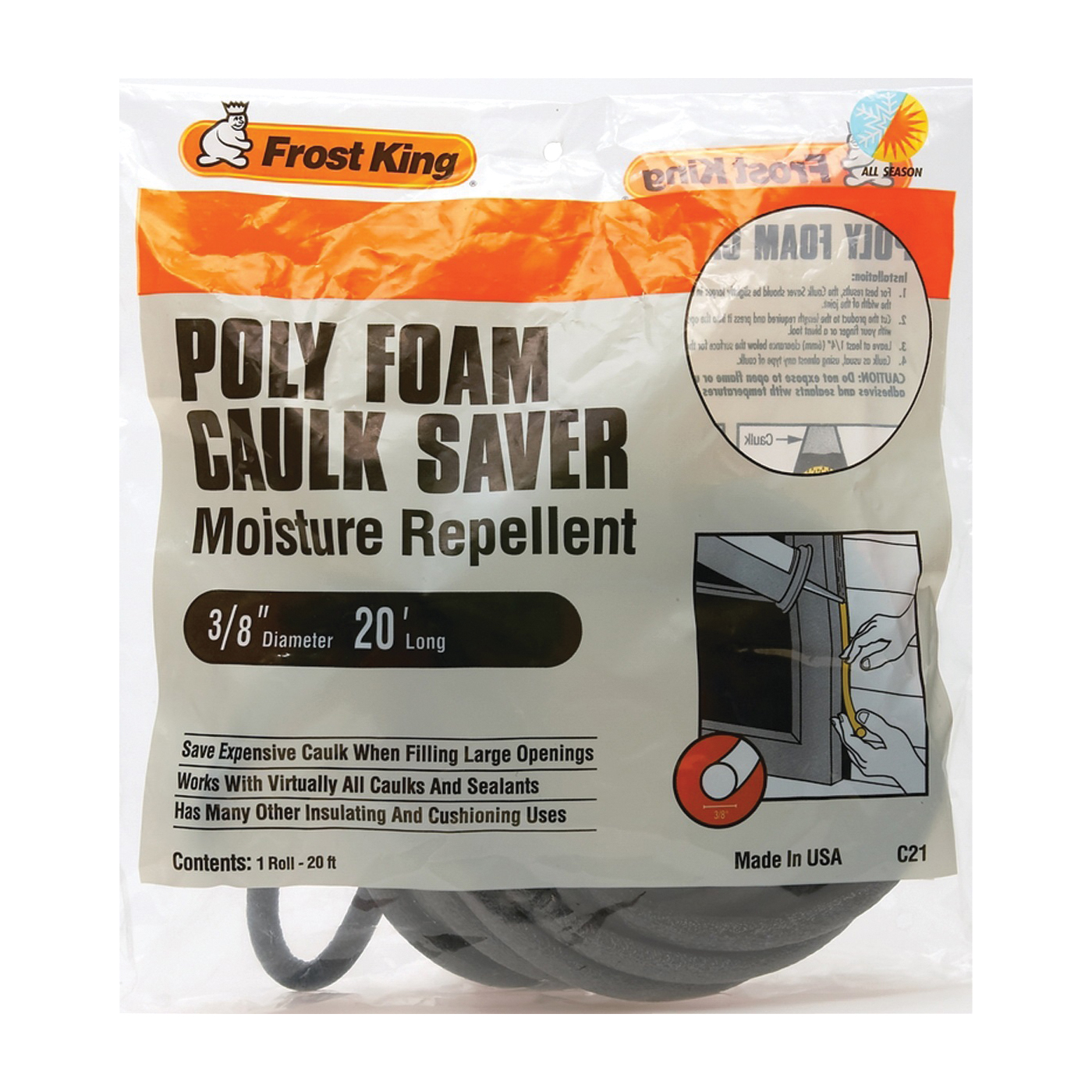 Picture of Frost King C21H Caulk Saver, 3/8 in Dia, 20 ft L, Polyfoam, Gray