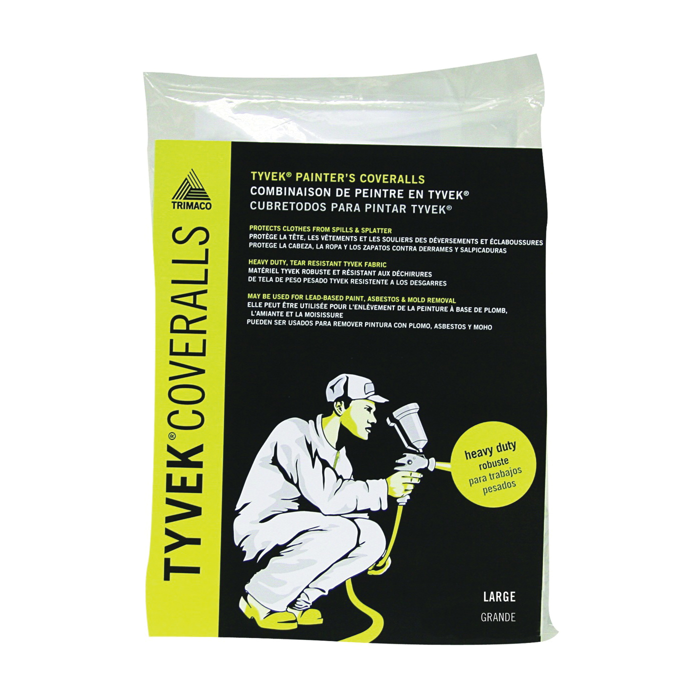 Picture of Trimaco 14122 Professional Painter's Coverall, L, Zipper Closure, Tyvek, White