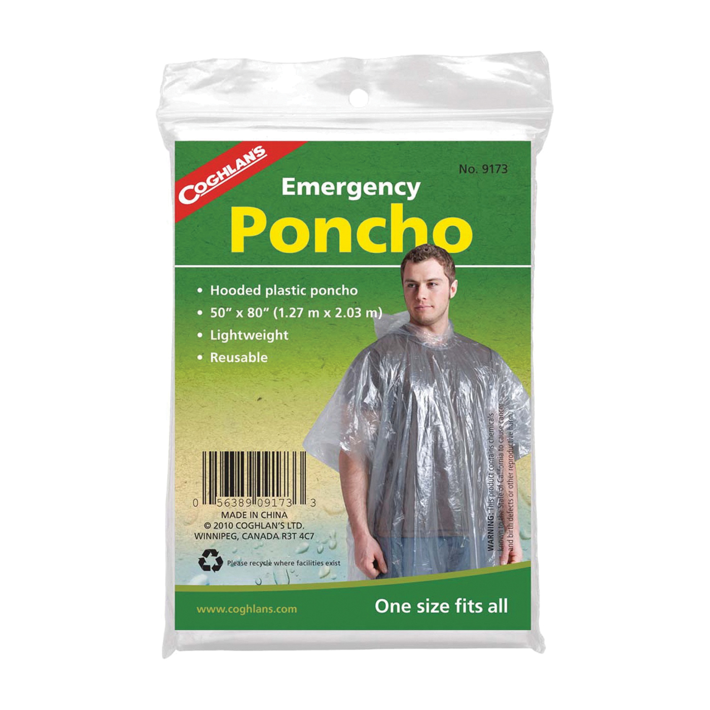 Picture of COGHLAN'S 9173 Emergency Poncho, One-Size, Polyethylene, Clear, Reusable Collar