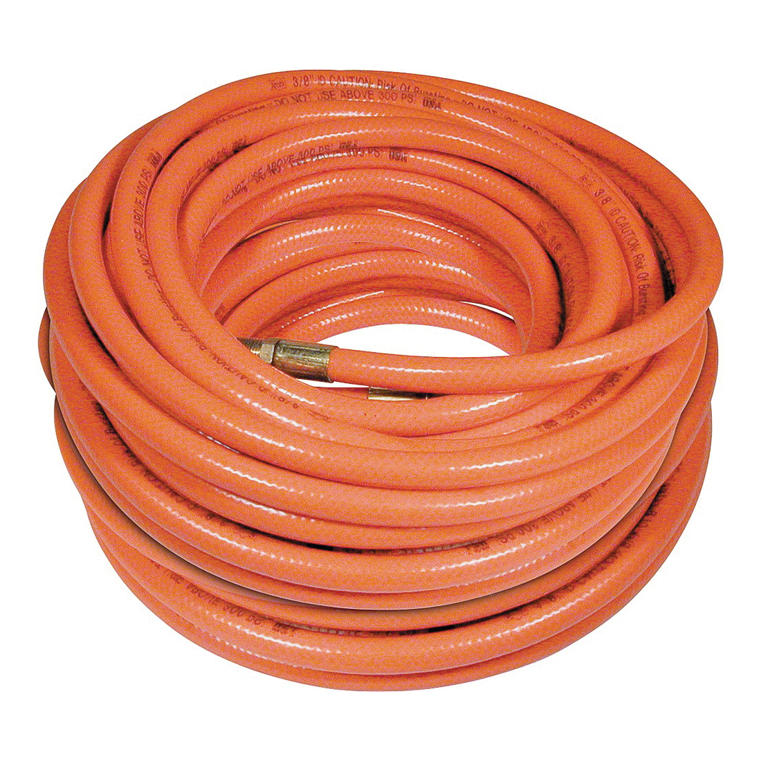Picture of Amflo 576-100A-5 Air Hose, 3/8 in OD, 100 ft L, MNPT, 300 psi Pressure, PVC, Orange