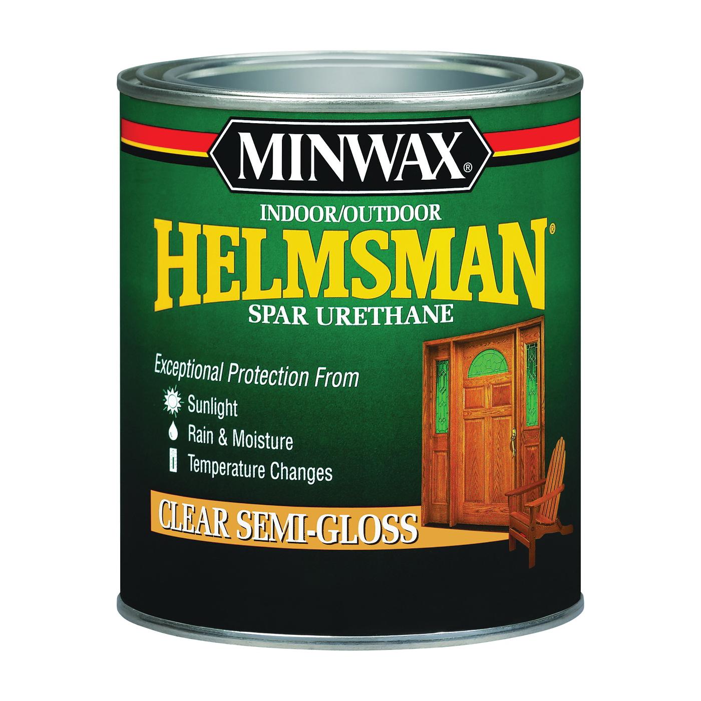 Picture of Minwax Helmsman 43210000 Spar Urethane Paint, Semi-Gloss, Clear, Liquid, 1 pt, Can