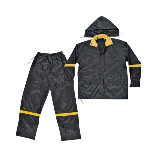 Picture of CLC R103L Rain Suit, L, 190T Nylon, Black/Yellow, Detachable Collar, Zipper Closure
