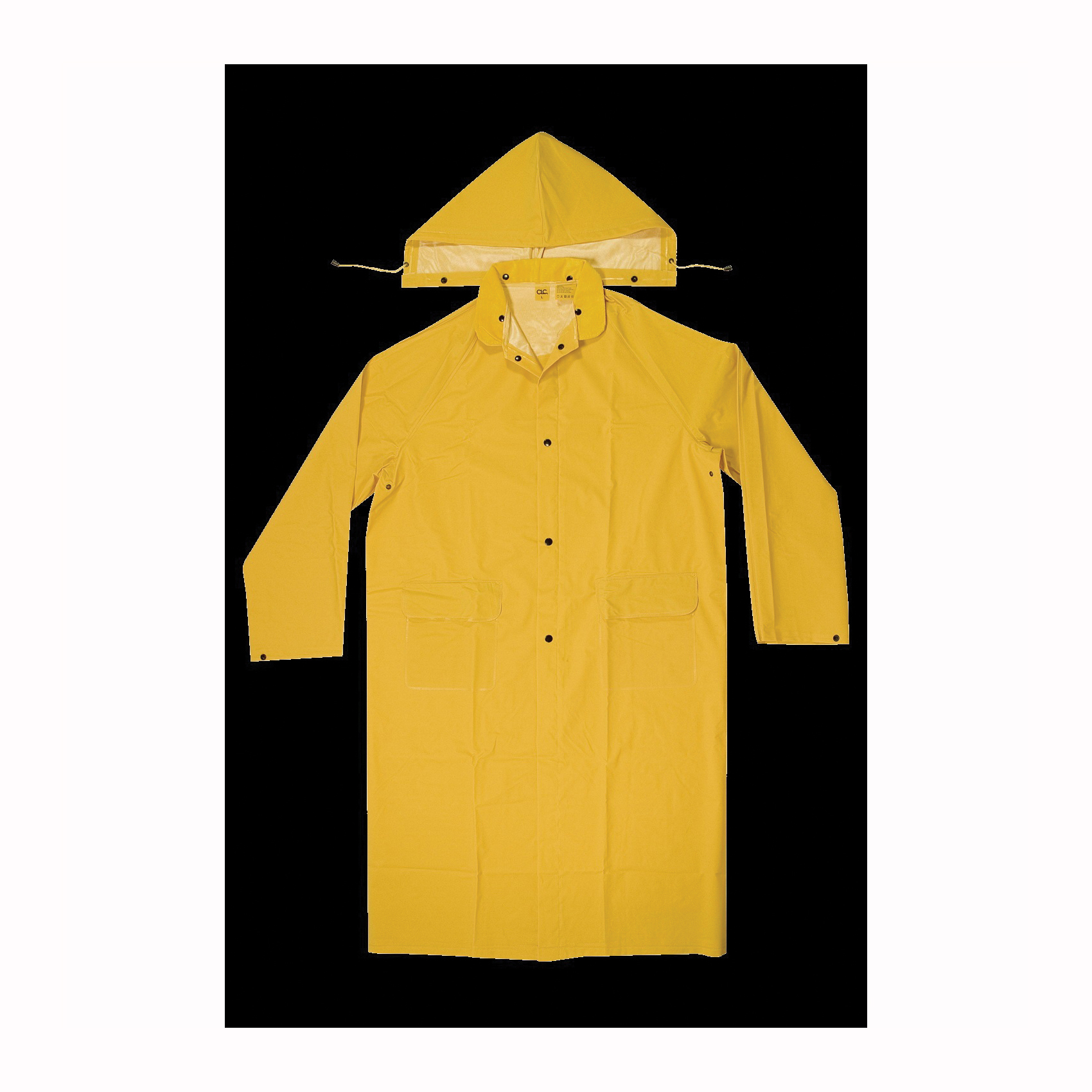 Picture of CLC CLIMATE GEAR R105X Protective Coat, XL, PVC, Yellow, Detachable Collar, Snap Front Closure