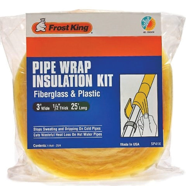 Picture of Frost King SP46 Pipe Wrap Kit, 25 ft L, 6 in W, 1/2 in Thick, Fiberglass