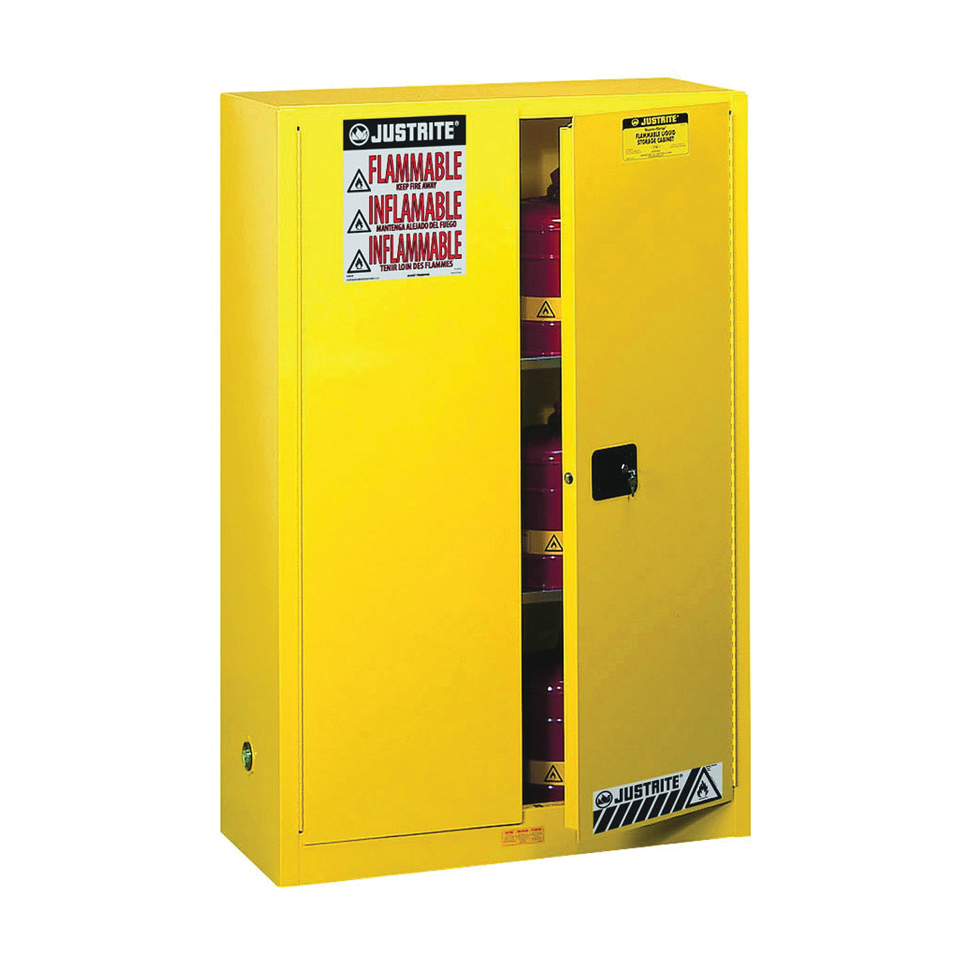 Picture of JUSTRITE Sure-Grip 894500 Safety Cabinet, 45 gal, 43 in OAW, 65 in OAH, 18 in OAD, 2-Shelf, Steel, Yellow
