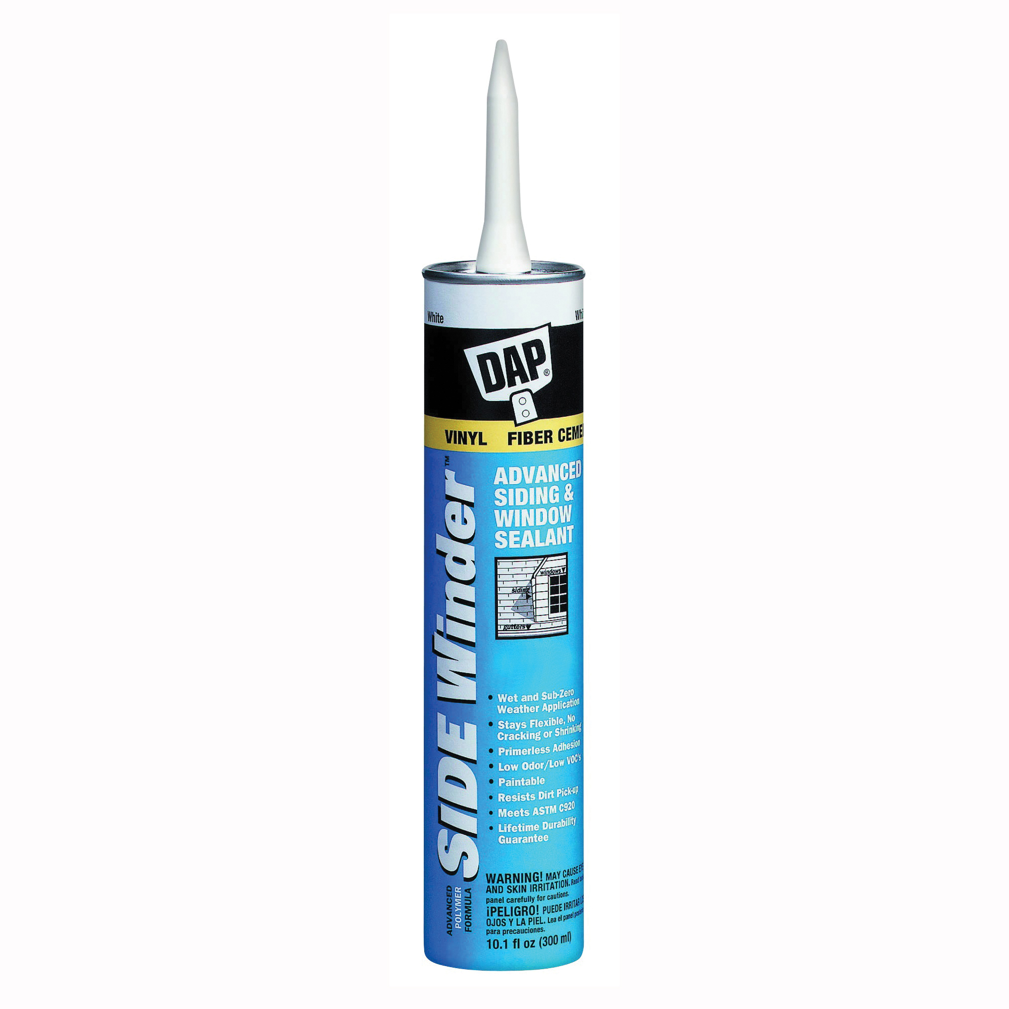 Picture of DAP 00807 Siding and Window Sealant, Light Gray, 24 hr Curing, -35 to 140 deg F, 10.1 oz Package, Cartridge