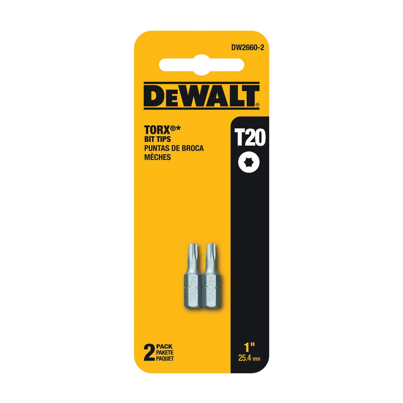 Picture of DeWALT DW2660-2 Power Bit, T20 Drive, Torx Drive, 1/4 in Shank, Hex Shank, 1 in L, Steel