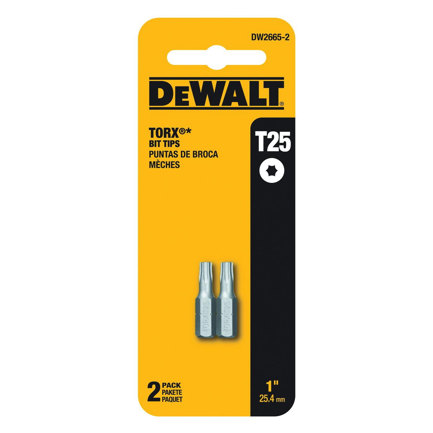 Picture of DeWALT DW2665-2 Power Bit, T25 Drive, Torx Drive, 1/4 in Shank, Hex Shank, 2 in L, Steel