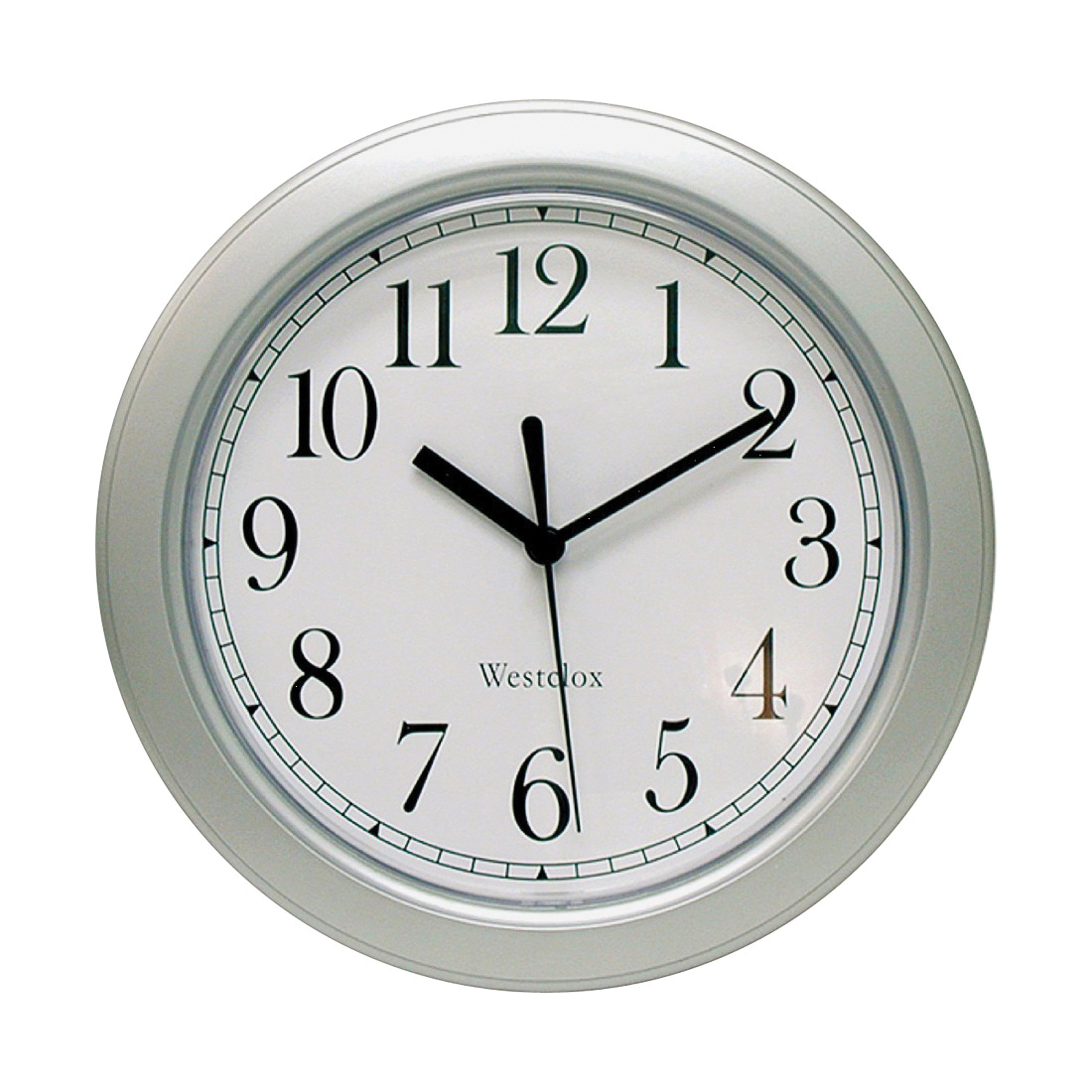 Picture of Westclox 46984A Wall Clock, Round, Analog, Plastic Frame, Silver Frame
