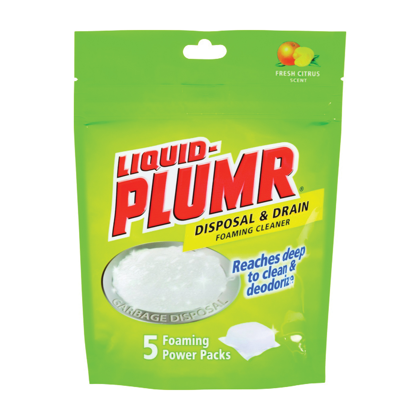 Picture of Liquid-Plumr 30717 Disposal and Drain Cleaner Pouch, Pouch, Granular, Citrus, Grapefruit, White