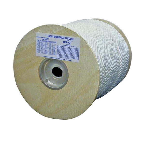 Picture of T.W. Evans Cordage 85-063 Rope, 3/8 in Dia, 300 ft L, 407 lb Working Load, Nylon, White, Spool