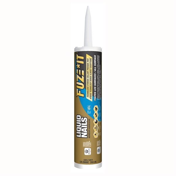Picture of Liquid Nails FUZE IT LN-2000 Construction Adhesive, Gray, 9 oz Package, Cartridge