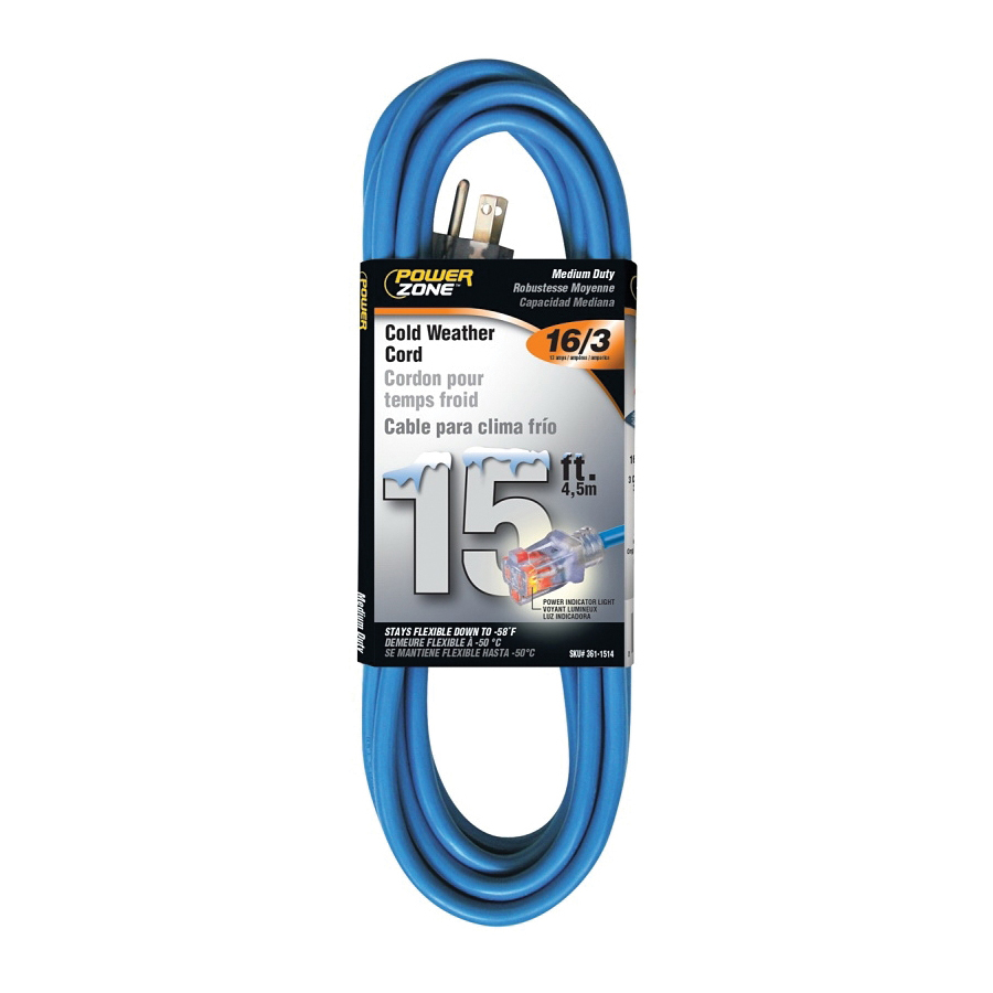 Picture of PowerZone ORCW511615 Extension Cord, 16 AWG Cable, 15 ft L, 13 A, 125 V, Blue Jacket