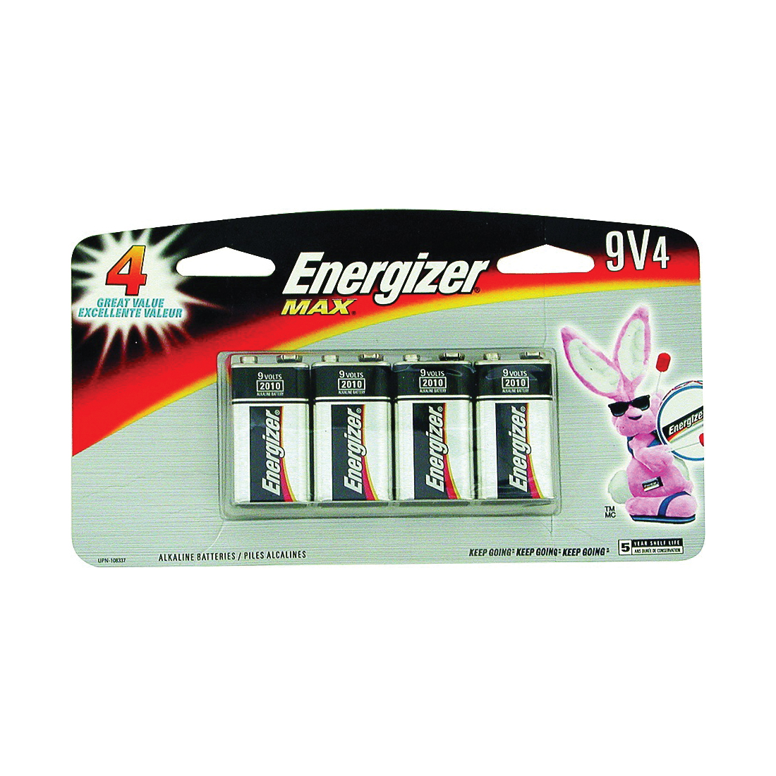 Picture of Energizer 522BP-4H Alkaline Battery, 9 V Battery, 625 mAh, 9 V Battery, Zinc, Manganese Dioxide, 4/PK
