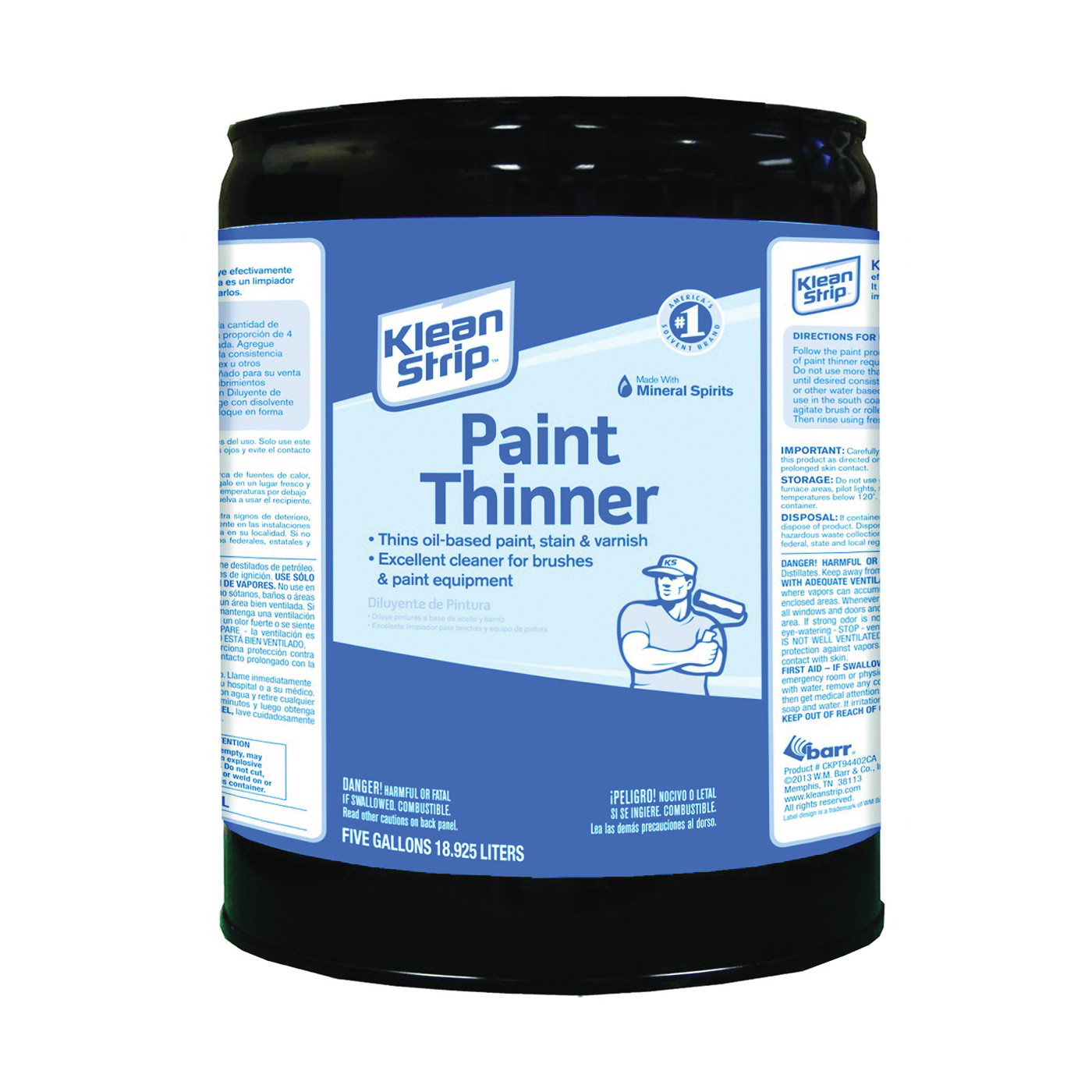Picture of Klean Strip CKPT94402CA Paint Thinner, Liquid, Aromatic Hydrocarbon, Water White, 5 gal, Can