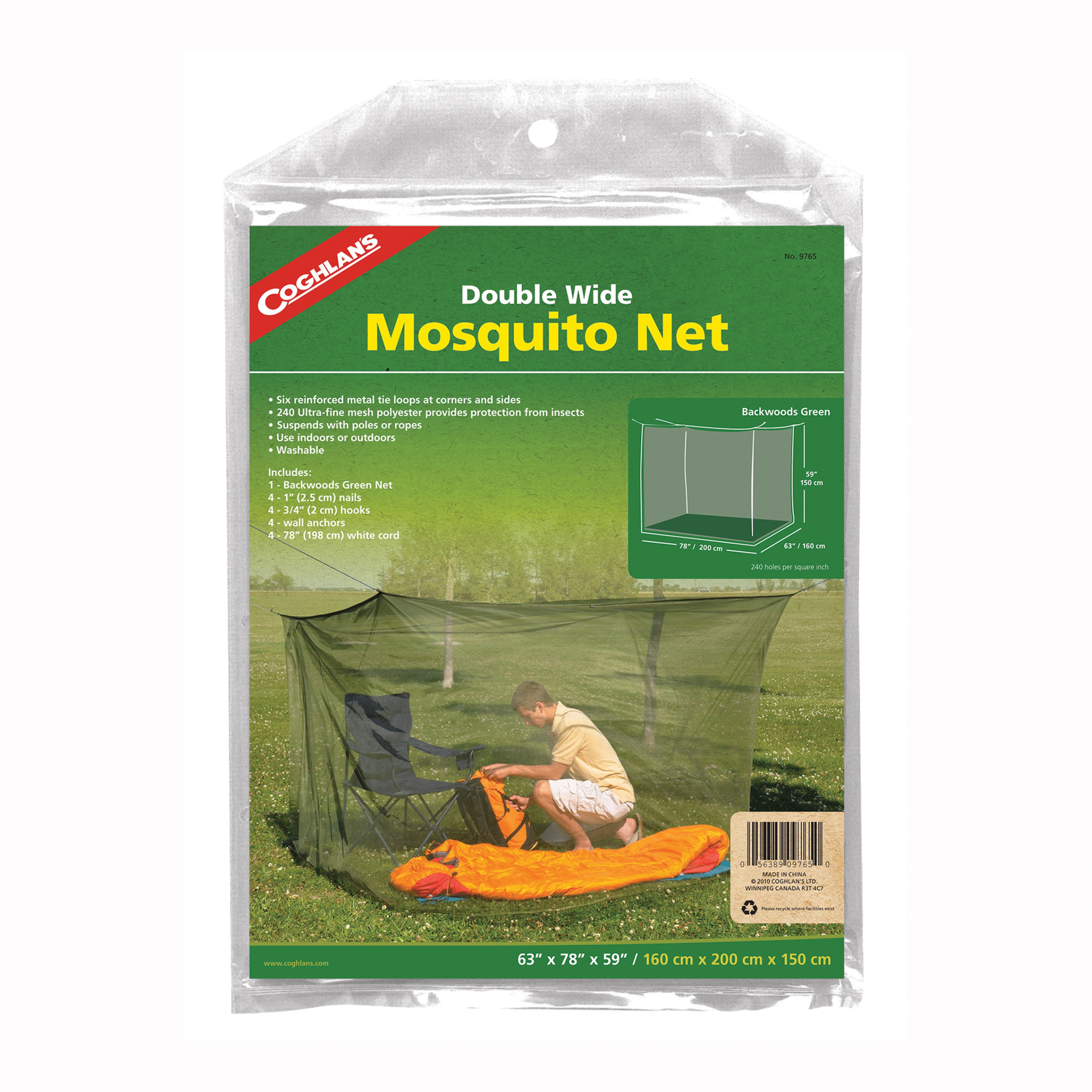 Picture of COGHLAN'S 9765 Mosquito Net, Double Wide, Polyester, Olive Green, For: 2 Cots or Sleeping Bags