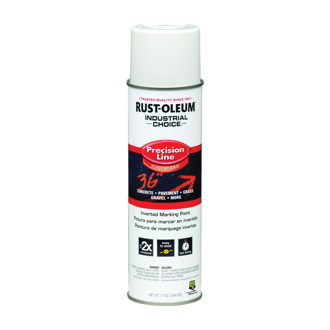 Picture of RUST-OLEUM INDUSTRIAL CHOICE 203030 Marking Paint, Semi-Gloss, White, 17 oz, Aerosol Can