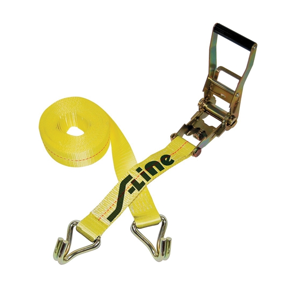 Picture of S-Line 500 Series 557-WHK Ratchet Strap, 2 in W, 27 ft L, Polyester, 3333 lb Working Load, Hook End