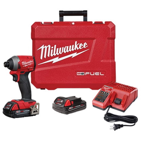 Picture of Milwaukee 2853-22CT Impact Driver Kit, Kit, 18 V Battery, 2 Ah, 1/4 in Drive, Hex Drive, 4300 IPM, 3600 rpm Speed
