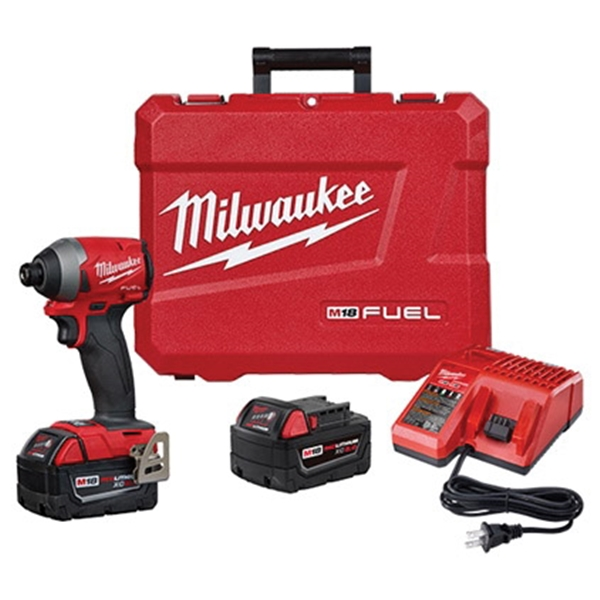 Picture of Milwaukee 2853-22 Impact Driver Kit, Kit, 18 V Battery, 5 Ah, 1/4 in Drive, Hex Drive, 4300 IPM, 3600 rpm Speed