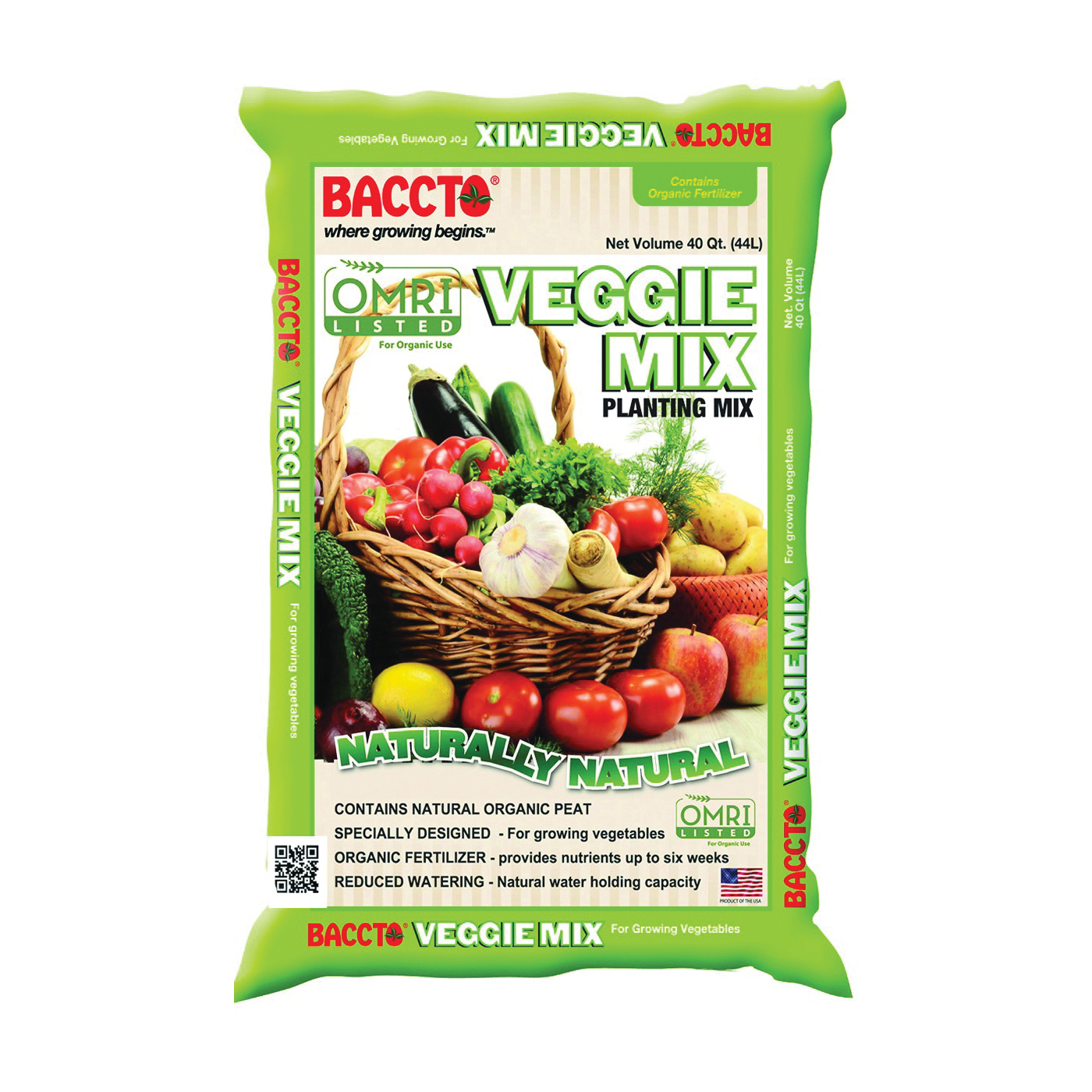 Picture of BACCTO 1840 Veggie Mix, Solid, Dark Brown/Light Brown, 40 qt Package, Bag