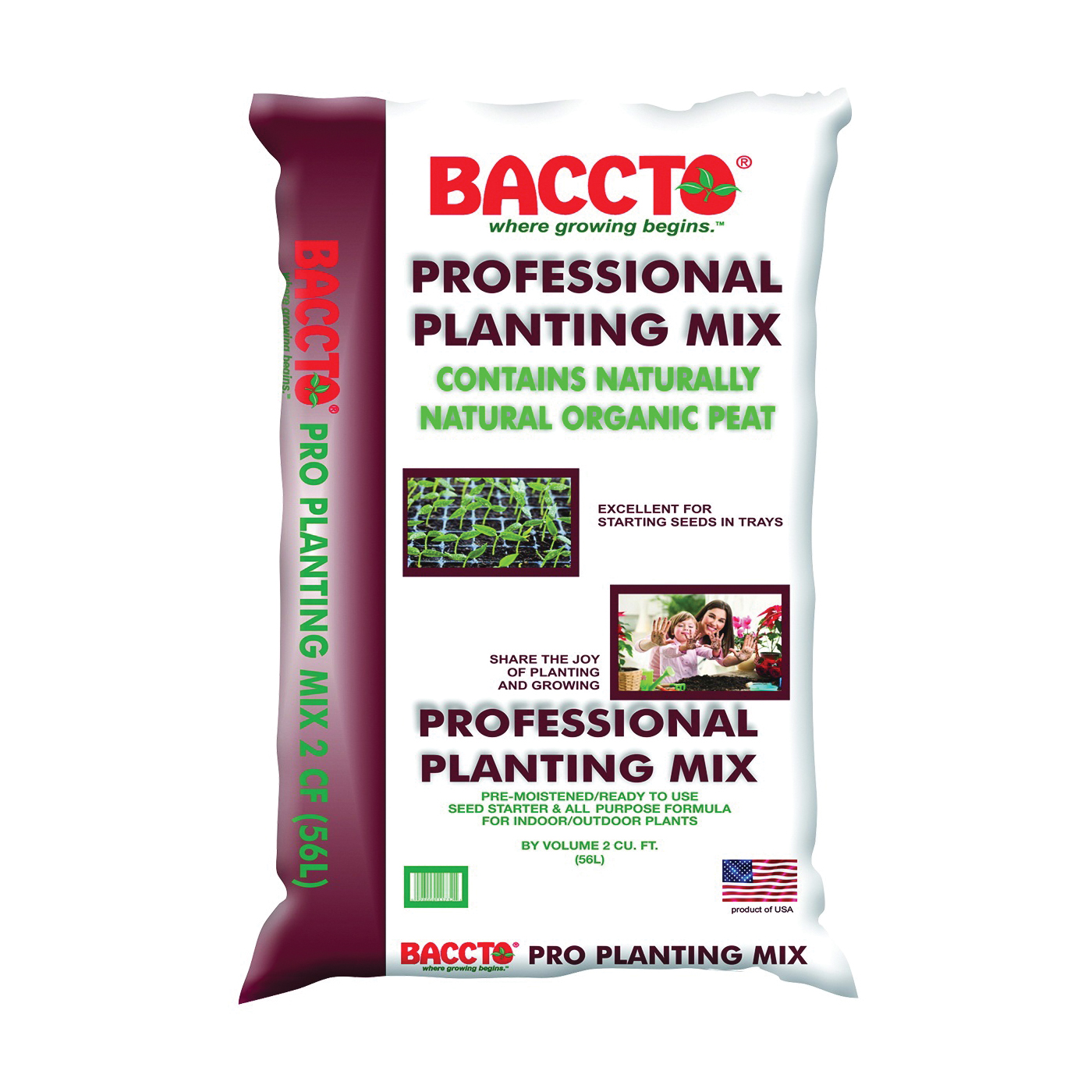 Picture of BACCTO 1732 Planting Mix, 2 cu-ft Coverage Area, Solid, Dark Brown/Light Brown, Bag