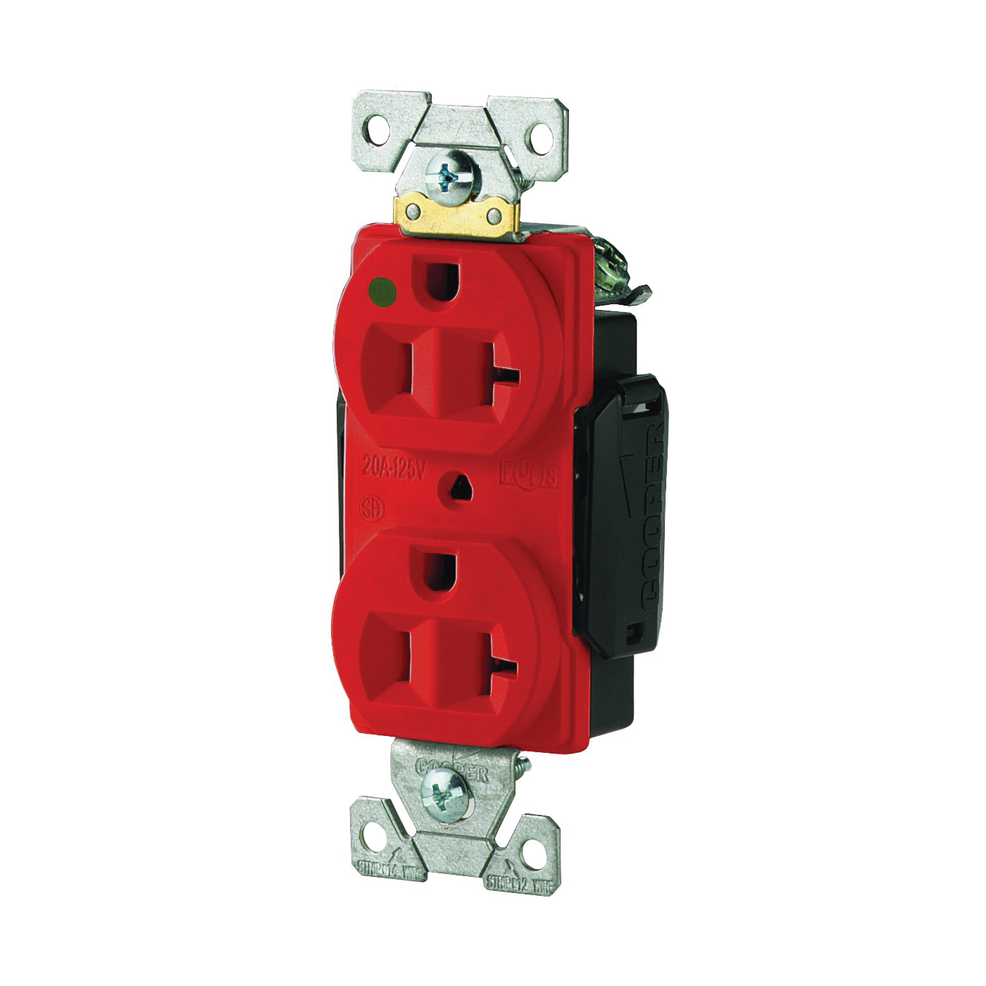 Picture of Eaton Wiring Devices AH8300RD Duplex Receptacle, 2-Pole, 20 A, 125 V, Back, Side Wiring, NEMA: 5-20R, Red