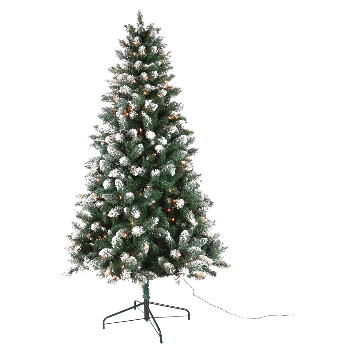 Picture of Santas Forest 27470 Pre-Lit Tree, 7 ft H, Tamarack Family, 110 V, Mini Bulb, Clear Light