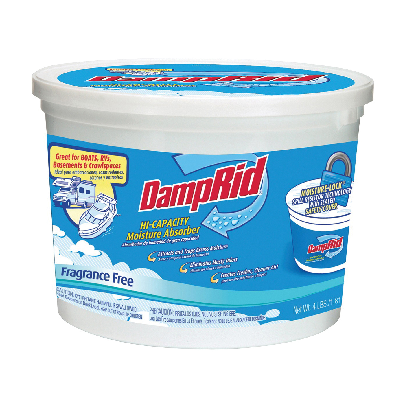 Picture of DampRid FG50T Moisture Absorber, 4 lb Package, Tub, Solid, Odorless