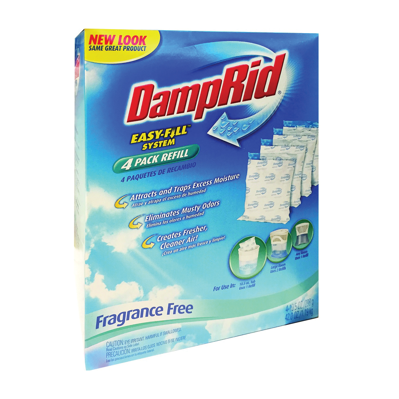 Picture of DampRid Easy-Fill System FG92 Moisture Absorber Refill, 10.5 oz Package, Pouch, Solid, Odorless