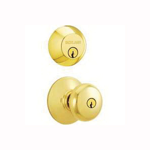 Picture of Schlage Plymouth FB52NVPLY505 Knob Lockset, 2 Grade, Keyed Alike Key, Polished Brass, 2-3/8 x 2-3/4 in Backset