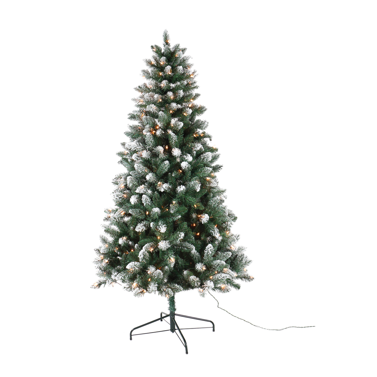 Picture of Santas Forest 50766 Pre-Lit Frosted Tree, 6-1/2 ft H, Spruce Family, 110 V, Mini Bulb, Clear Light