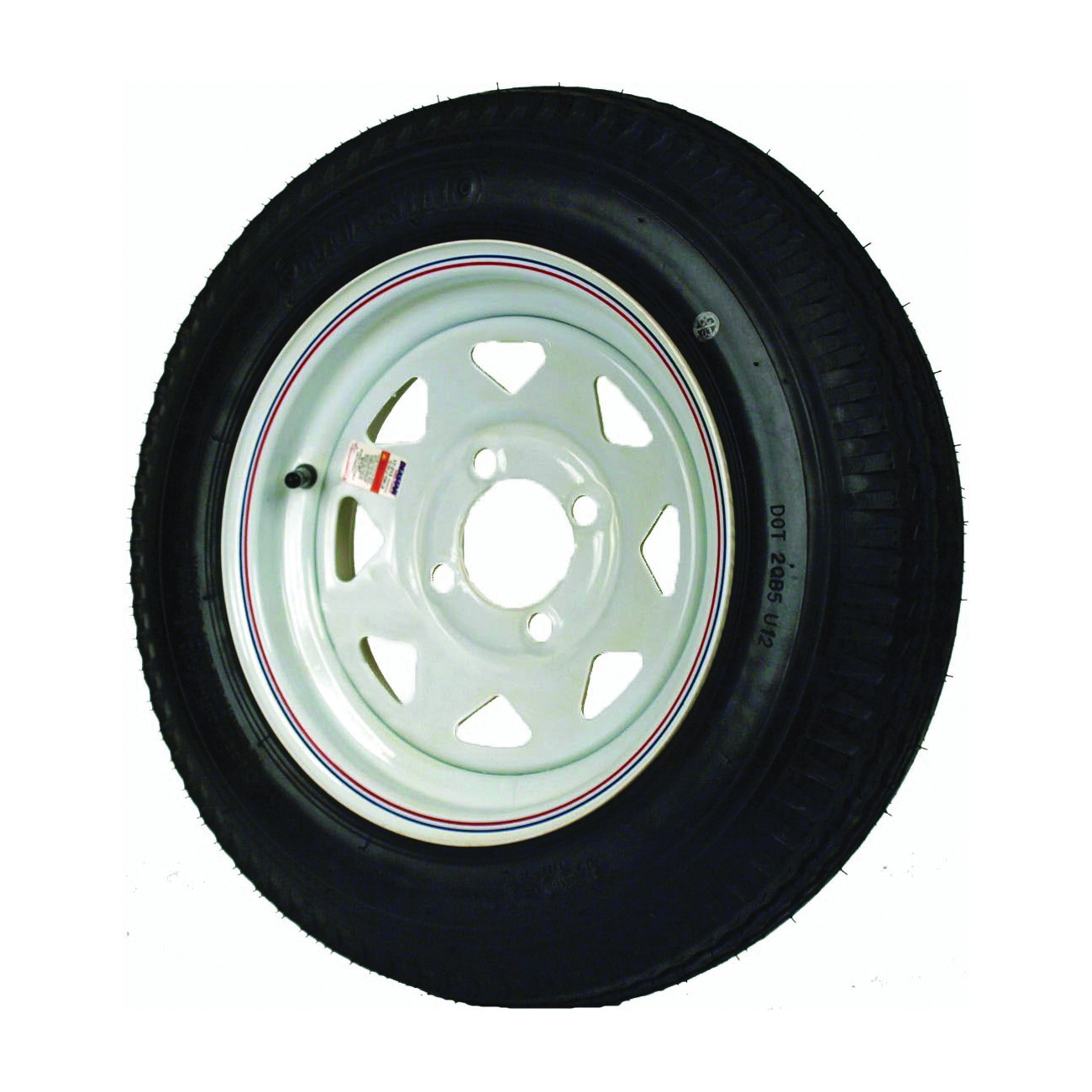 Picture of MARTIN WHEEL DM412B-4I Trailer Tire, 1120 lb Withstand, 4 in Dia Bolt Circle, Rubber