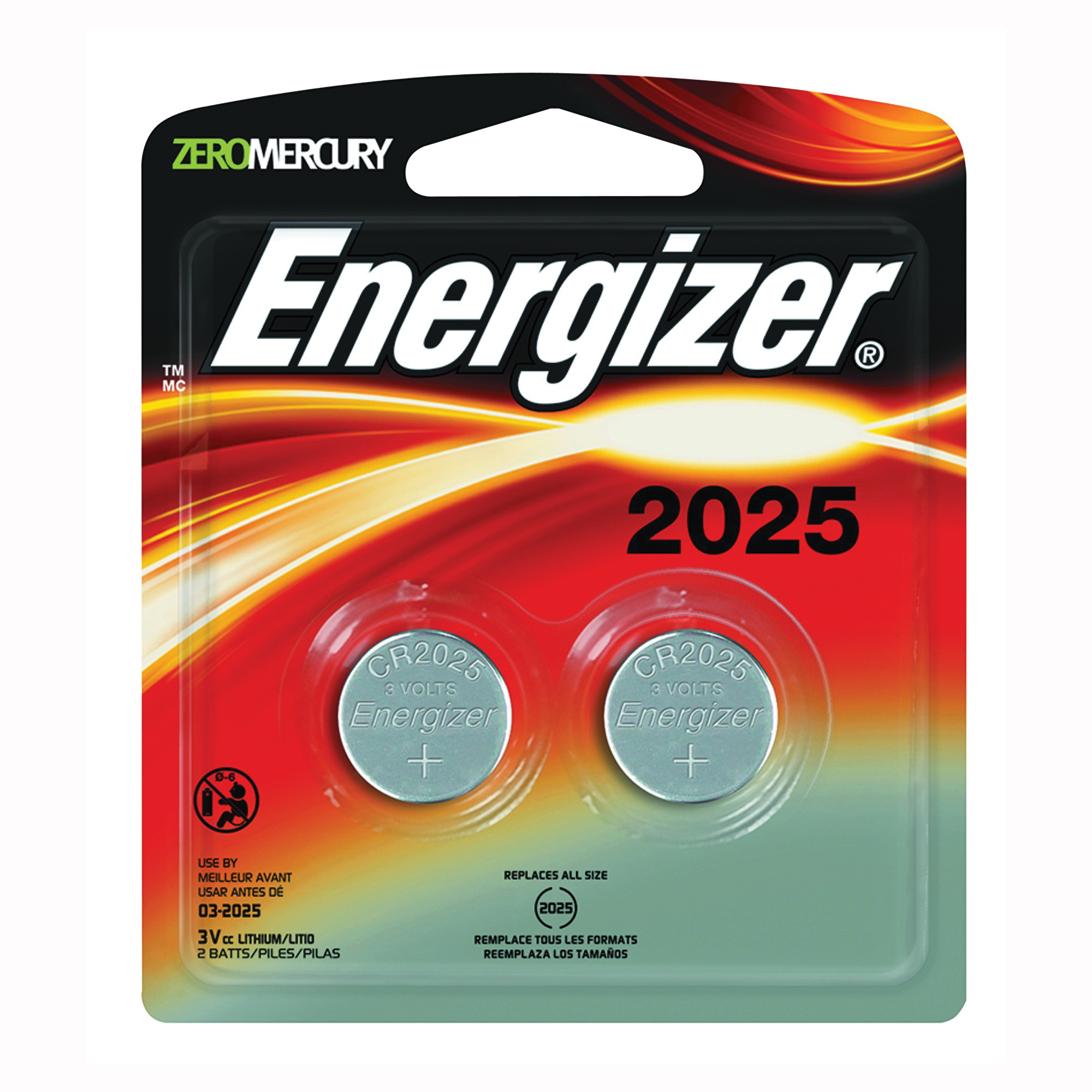 Picture of Energizer 2025BP-2 Coin Cell Battery, 3 V Battery, 170 mAh, CR2025 Battery, Lithium, Manganese Dioxide