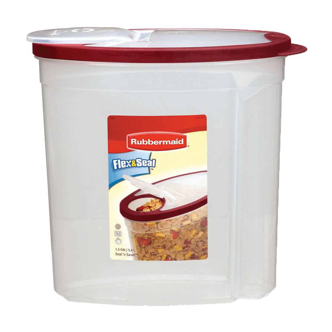 Picture of Rubbermaid 1777195 Food Storage Canister, 1.5 gal Capacity, Plastic, Clear, 5.78 in L, 11.34 in W, 11.18 in H