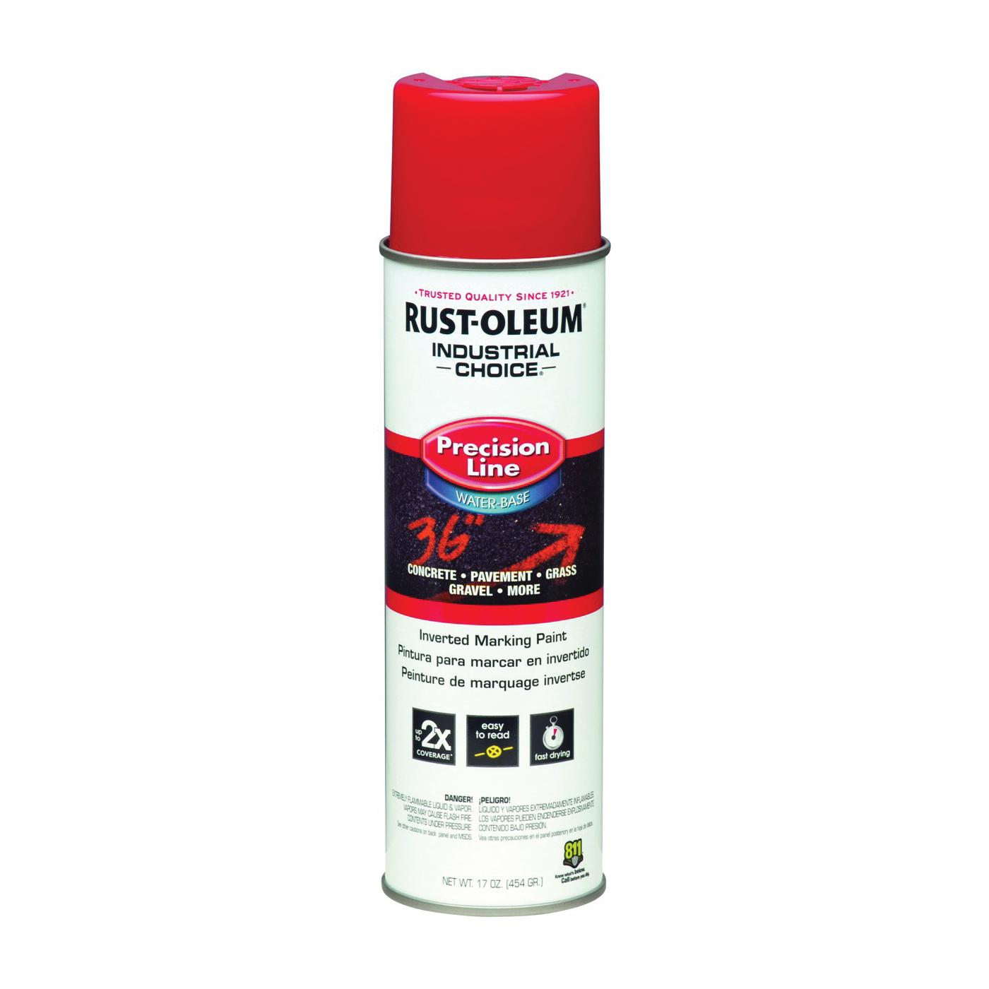 Picture of RUST-OLEUM INDUSTRIAL CHOICE 203038 Marking Paint, Safety Red, 17 oz, Aerosol Can