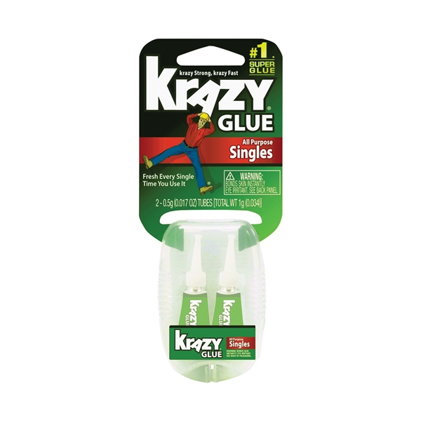 Picture of Krazy Glue KG58148CLS To-Go 2-Pack Glue, Liquid, Irritating, Clear, 0.5 oz Package, Tube